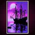 Black Light Poster Moonlit Pirate Ship