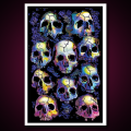Black Light Poster Wall of Skulls